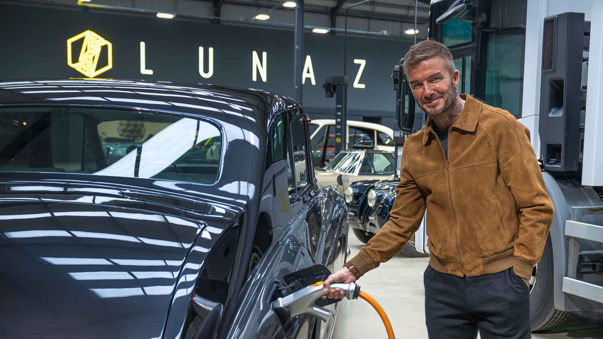 David Beckham at Lunaz's headquarters in Silverstone, United Kingdom
