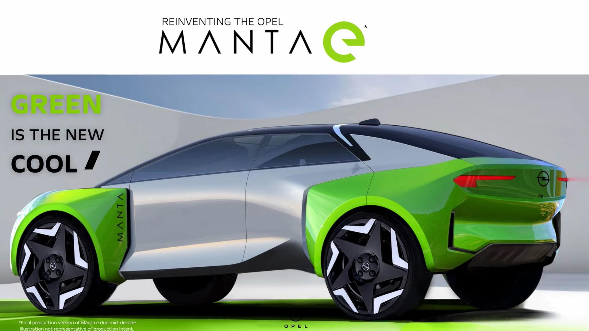 Teaser for Opel Manta E debuting around mid-2020