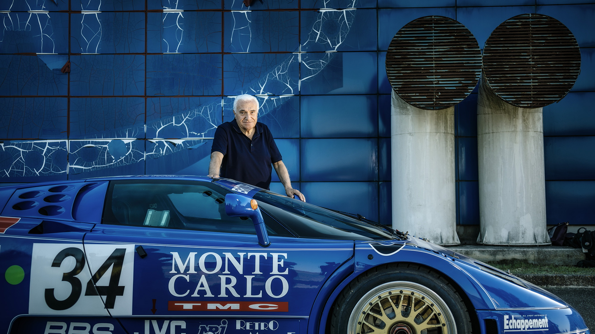 Romano Artioli with the 1994 Bugatti EB110 LM built for Le Mans