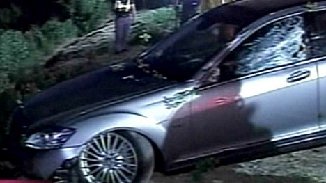 Charlie Sheen's Mercedes sedan pulled from a ravine, June 2010