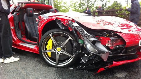 Ferrari 458 Italia crashes in the UK
