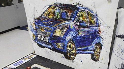 Chevrolet Spark, as painted by British artist Ian Cook