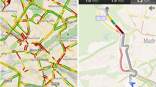 Google Maps with traffic data for Munich and Madrid
