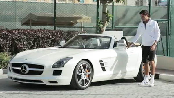 Tennis ace Roger Federer expecting the new 2012 SLS AMG Roadster