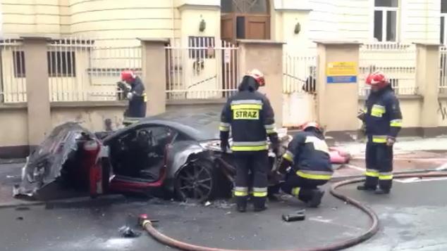 A Ferrari California burns in Warsaw, Poland