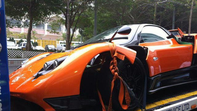 Wreckage of a Pagani Zonda F that crashed in Hong Kong