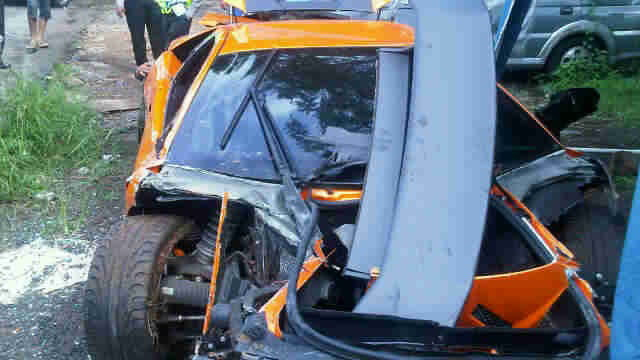 Wreckage of Lamborghini Murcielago LP 670-4 SV that crashed in Indonesia