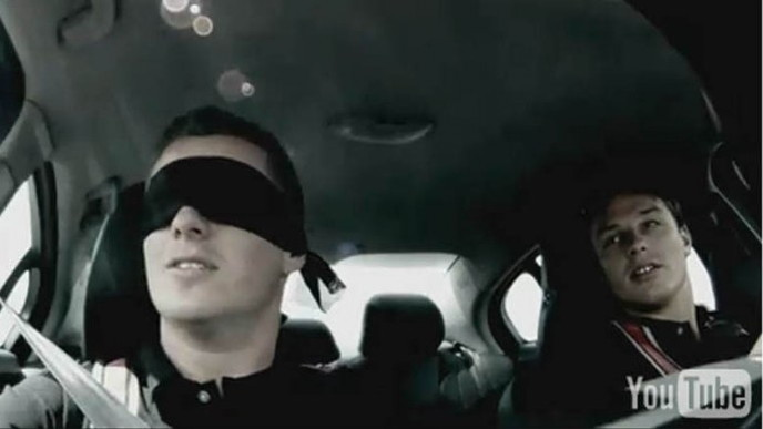 Johnny Reid driving the 2011 Volvo S60 blindfolded