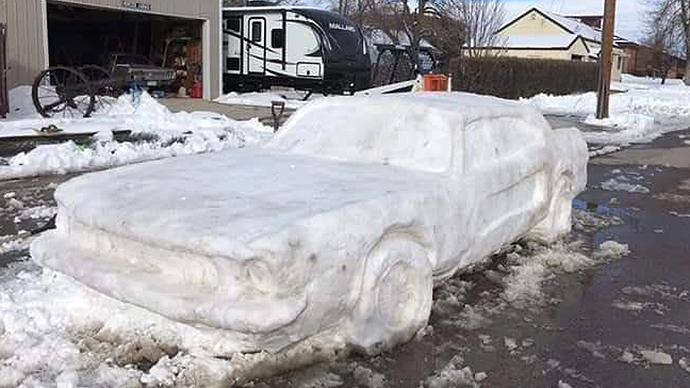 #SnowPony, a Ford Mustang made entirely from snow