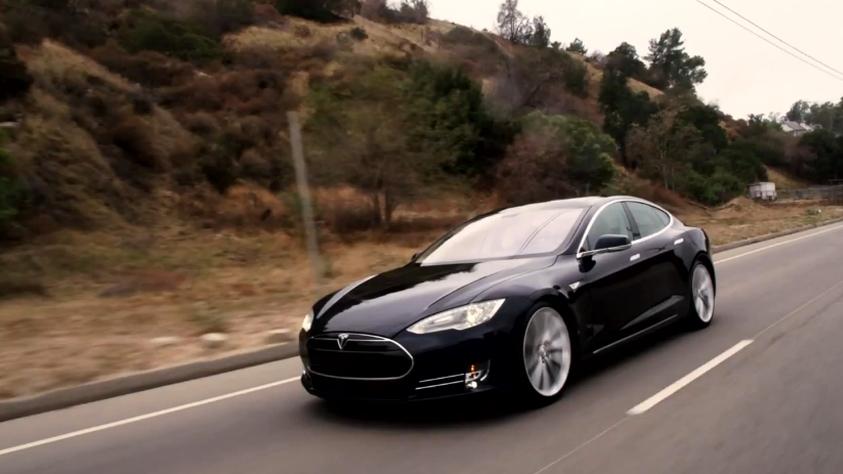 Jay Leno drives Tesla's Model S sedan