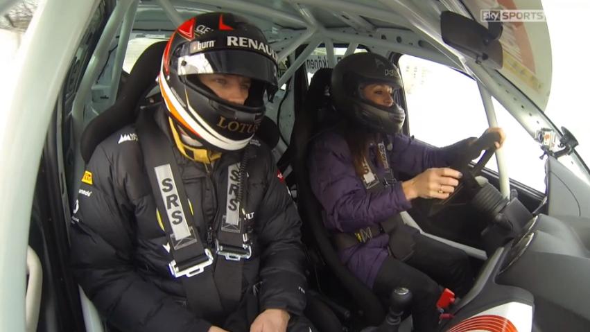 Kimi Raikkonen instructs Natalie Pinkham on ice driving technique