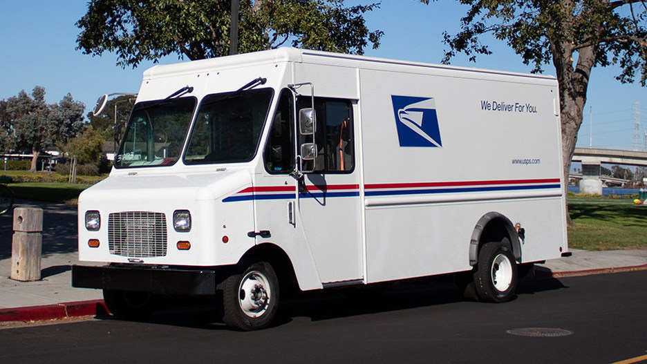 USPS Motiv Power e450 delivery truck for Fresno, California