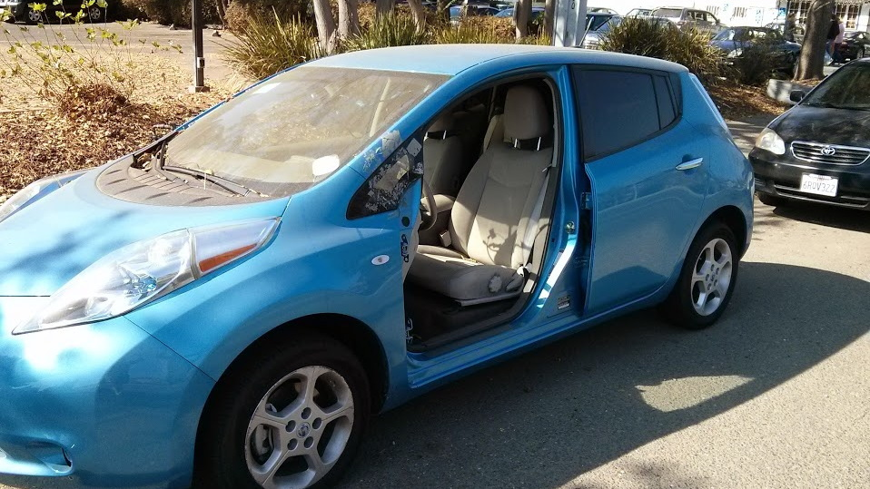 Abandoned Nissan Leaf electric car in Palo Alto, California, Oct 2013