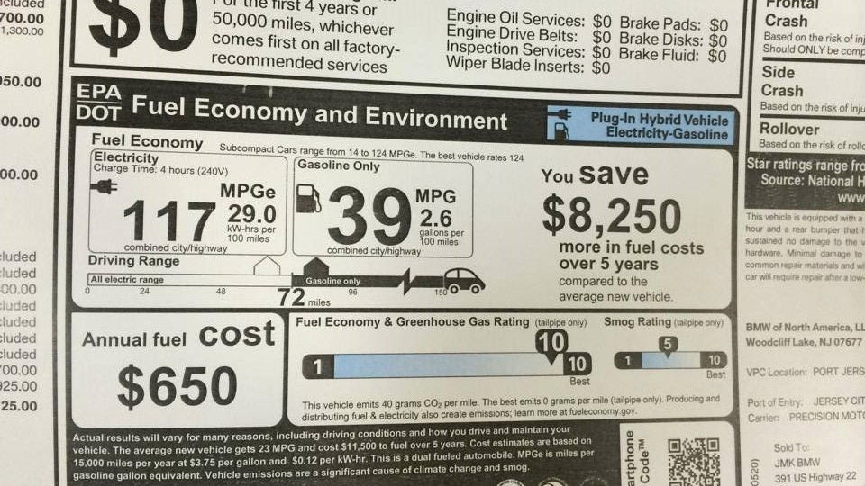 2014 BMW i3 range-extender EPA window sticker (Image: Tom Moloughney)