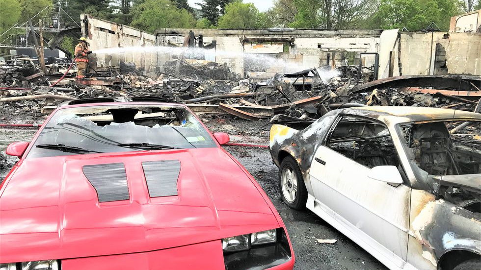 Classic Chevrolet dealership set fire–Image via Amberly Jane Campbell/Shawangunk Journal