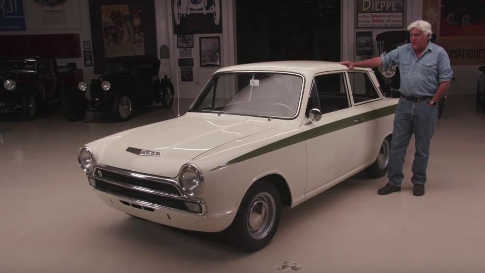 Jay Leno checks out a 1966 Lotus Cortina