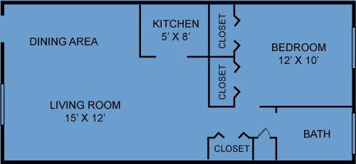 1 Bedroom / 1 Bath / 480 Sq.Ft.