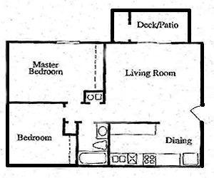 2 Bedroom / 1 Bath / 840 Sq.Ft.
