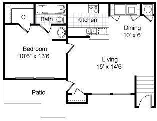 1 Bedroom / 1 Bath / 680 Sq.Ft.